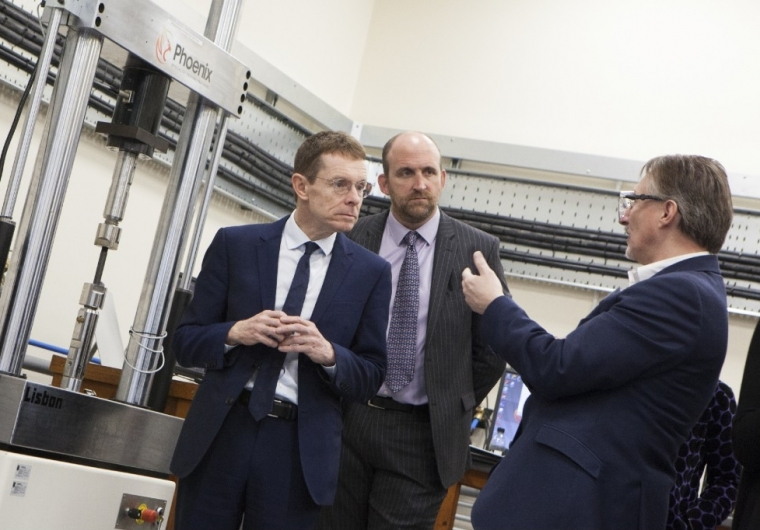 John Cross, General Manager of the Rubery Owen Materials Testing Division discusses the new laboratory with Mr Andy Street, the Mayor of the West Midlands and Richard Jenkins, Rubery Owen CEO